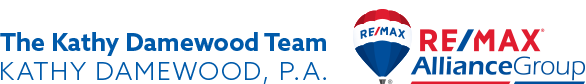 Logo 1: The Kathy Damewood Team, Kathy DameWood, P.A. and Logo 2: REMAX Alliance Group